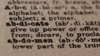 Abdicate - Fake dictionary definition of the word with pencil underline