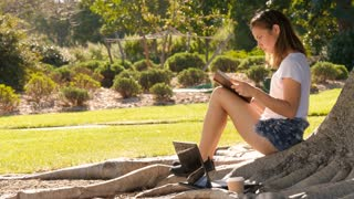 Academic college student girl sitting a tree in park reading book studying