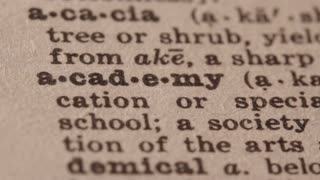 academy - a secondary school (usually private) Pencil underlining the word Academy in fake Dictionary definition of the word.