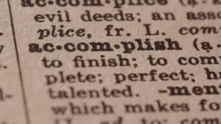 Accomplish - Fake dictionary definition of the word with pencil underline