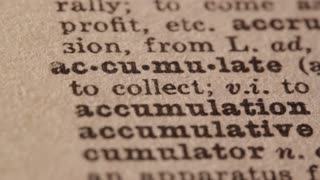 accumulate - get or gather together; Pencil underlining the word Accumulate in fake Dictionary definition of the word.