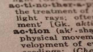 Action - Fake dictionary definition of the word with pencil underline