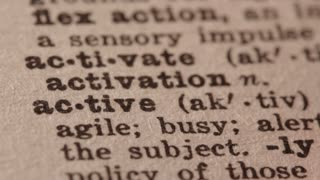Active - Fake dictionary definition of the word with pencil underline