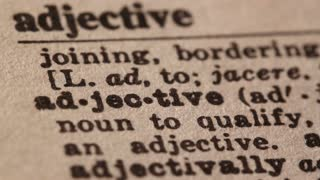 Adjective - Fake dictionary definition of the word with pencil underline