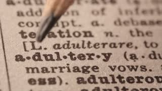 Adultery - Fake dictionary definition of the word with pencil underline