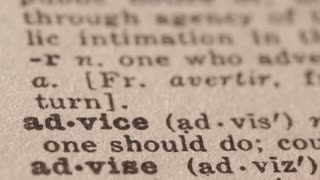 Advice - Fake dictionary definition of the word with pencil underline