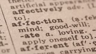 Affection - Fake dictionary definition of the word with pencil underline