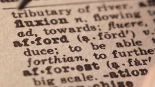 Afford - Fake dictionary definition of the word with pencil underline