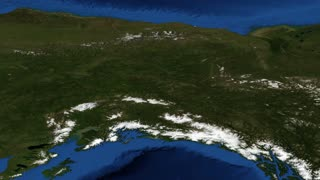 Alaska from space slow pan - Alaska is a U.S. state situated in the northwest extremity of the North American continent. Bordering the state to the east is Yukon, a Canadian territory, and the Canadian province of British Columbia