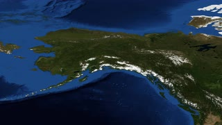 Alaska from space slow zoom - Alaska is a U.S. state situated in the northwest extremity of the North American continent. Bordering the state to the east is Yukon, a Canadian territory, and the Canadian province of British Columbia