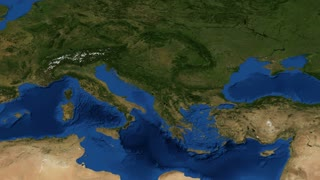 Alps and europe from space map