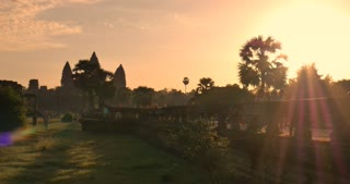 Angkor Wat Cambodia sunrise over ancient stone ruin temple