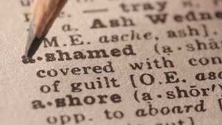 Ashamed - Fake dictionary definition of the word with pencil underline