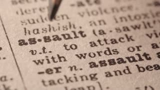 Assault - Fake dictionary definition of the word with pencil underline