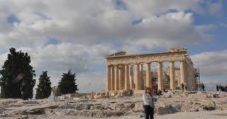Athens Greece Parthenon temple on Athenian Acropolis timelapse