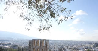 Athens Greece theater of Odeon of Herodes Atticus and Acropolis