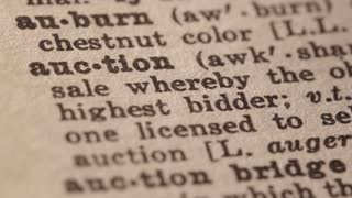 Auction - Fake dictionary definition of the word with pencil underline