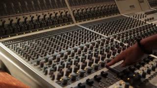 Audio recording music desk console in professional music recording studio