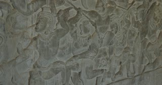 Bas relief stone carving Angkor Wat Cambodia ancient Khmer civilization