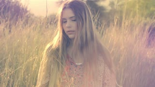 Beautiful Young Girl Artistic Portrait Fashion Model In Long Grass