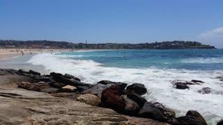 Bondi Beach or Bondi Bay is a popular beach on a hot summers in Sydney, Australia on January 22, 2015. It is one of Australia's most popular beaches.