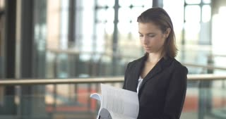 Career corprate business woman portrait busy with paper work