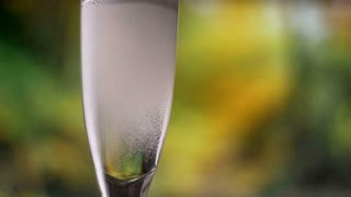 Champagn sparkling wine pouring into glass slowmotion
