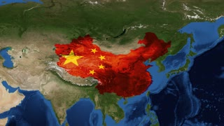 China from space with flag - zoom China, officially the People's Republic of China, is a sovereign state located in East Asia. It is the world's most populous country, with a population of over 1.35 billion