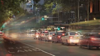 City Street Night Traffic and Commuter Pedestrian Time Lapse Sydney Australia- 4K