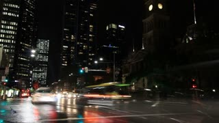 City Street Night Traffic and Commuter Pedestrian Time Lapse Sydney Australia- 4Ker Pedestrian Time Lapse - 4K