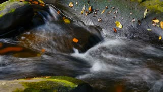 Clean fresh mountain water flowing over moss covered rocks autumn colors