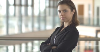 Confident Corproate Business woman person in office building