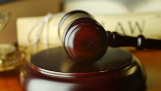 Court law justice litigation concept with gavel and hammer