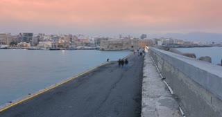 Crete Greece - Venetian harbour of Heraklion Koules fortress