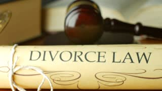Divorce court law justice litigation concept with gavel and hammer