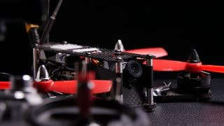 Drone racing multirotor quadcopter with remote control transmitter