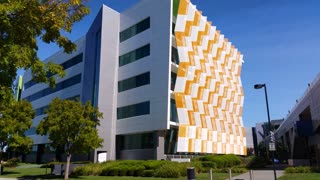 Establishing shot modern architecture building business office exterior