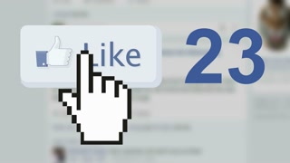 Facebook social media like 'likes' button number counter with hand cursor