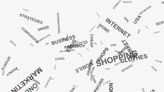 Foot print E-commerce brand marketing strategies business word cloud typography