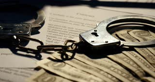 Gavel and handcuffs Justice court of law contract paper document form