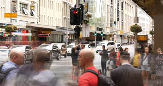 George St Sydney Australia city street traffic and people time lapse