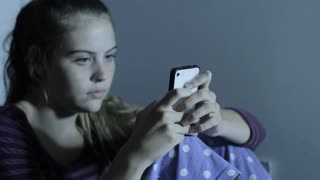 Girl On Phone Teen Depression Cyber Bullying and Internet Social Media
