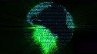 Green digital world binary computer data code cyberspace graphic animation
