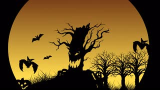 Halloween Animation with bats, jack-o'-lantern, tombstone and ghost