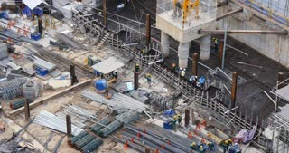 HO CHI MINH / SAIGON, VIETNAM - 2015: building construction site men working