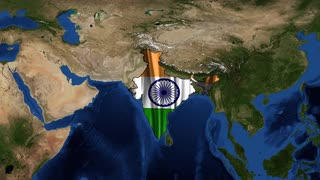 India map and flag from space zoom. India, officially the Republic of India, is a country in South Asia. It is the seventh-largest country by area, the second-most populous country