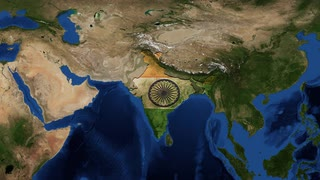 India map and flag from space zoom. India, officially the Republic of India, is a country in South Asia. It is the seventh-largest country by area