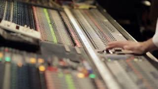 Large audio studio recording desk equipment panel in music recording studio