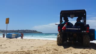 Lifegard at Bondi Beach or Bondi Bay, a popular beach on a hot summers in Sydney, Australia on January 22, 2015. It is one of Australia's most popular beaches.