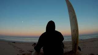 Mans best friend and surfer sitting on beach looking at oacen twilight sunset